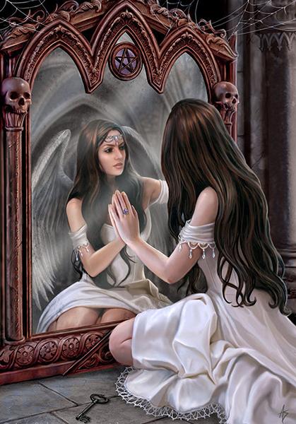 Нарисованная девушка ангел смотрится