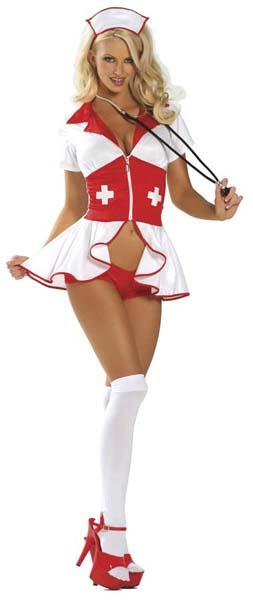 Блондинка в форме медсестры