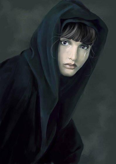 Девушка под дождём рисунок