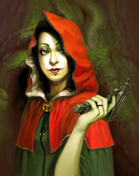 нарисованная девушка в красном капюшоне и с пистолетом