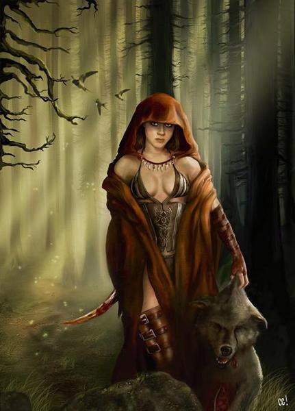 фентези девушка в капюшоне стоит с волком