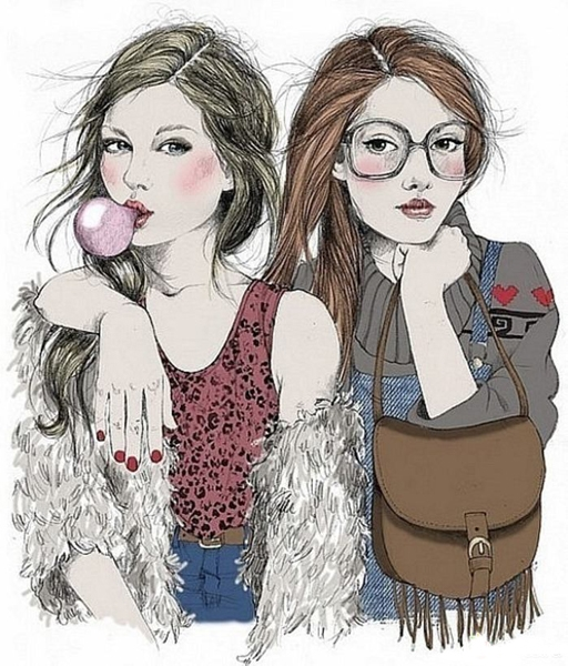 2 подружки рисунок