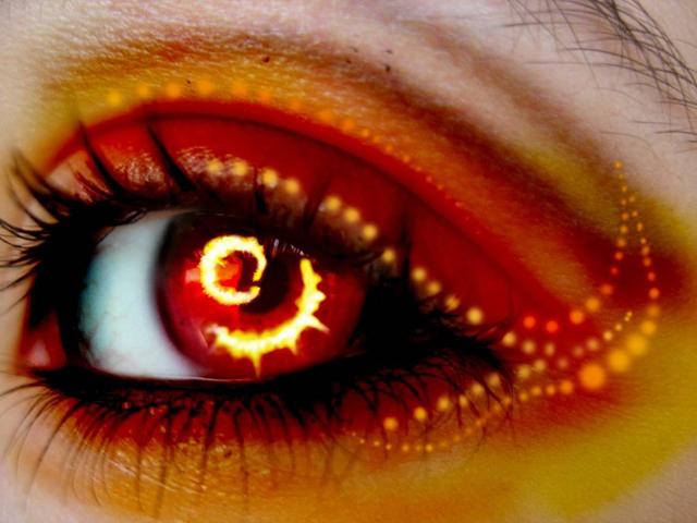 Красные глаза демона, сделанные в Фотошопе