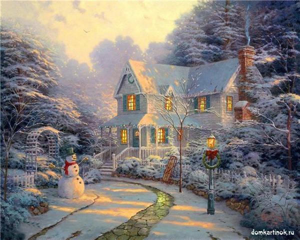 Зимний сад под снегом двухэтажный дом