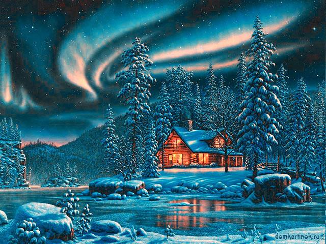 зимнее утро рисунок распечатать