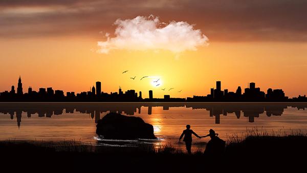 влюблённая парочка за городом во время заката