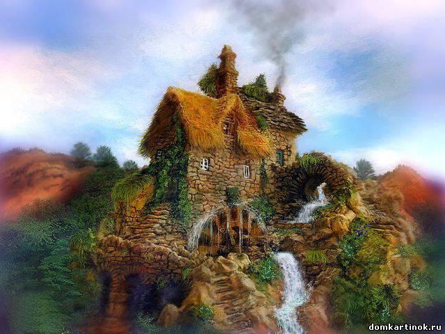 Нарисованные дома с деревьями - b