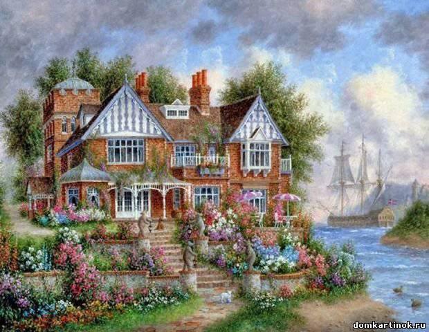 Красивая картинка нарисованные дома с