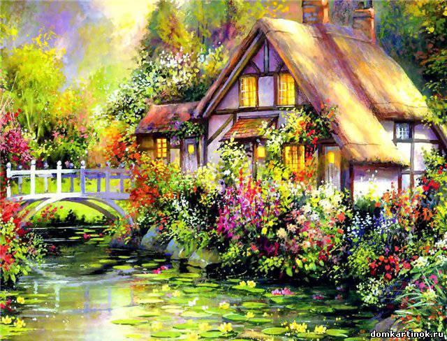 Нарисованные дома с деревьями - a9a4d