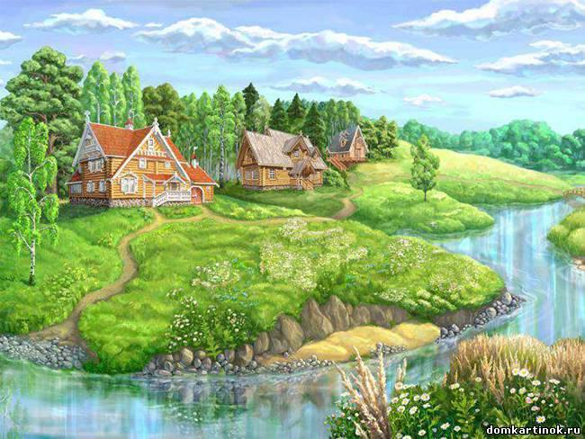Нарисованные дома с деревьями - 5cc5
