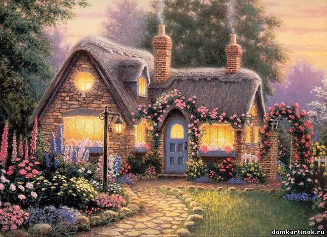Нарисованные дома с деревьями - ad7