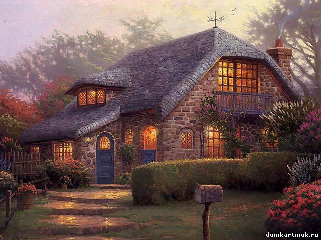 Нарисованные дома с деревьями - 654c