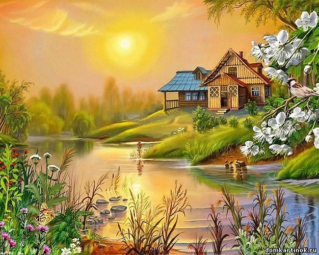 Нарисованные дома с деревьями - 86