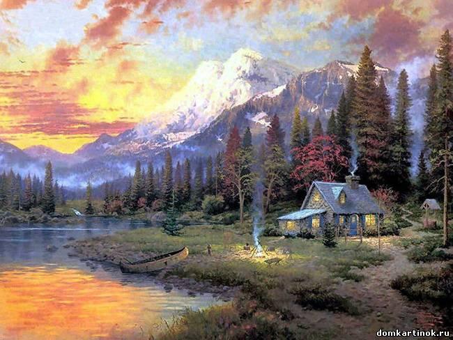 Нарисованные дома с деревьями - 3