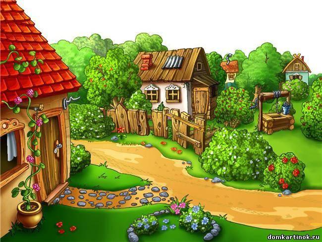 рисунок домик в деревне карандашом