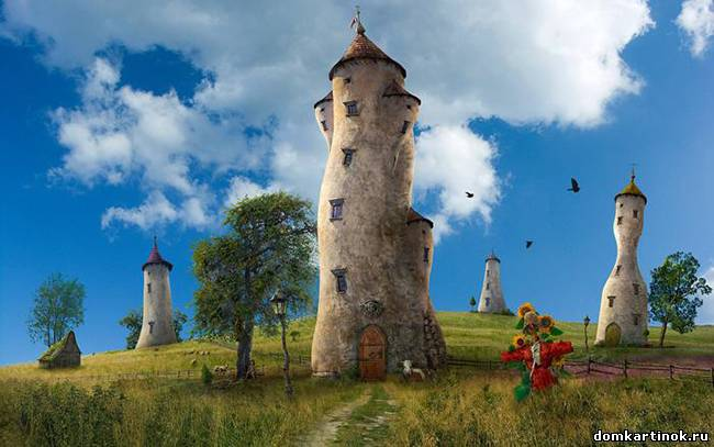 Необычные дома кривые башни на лугу