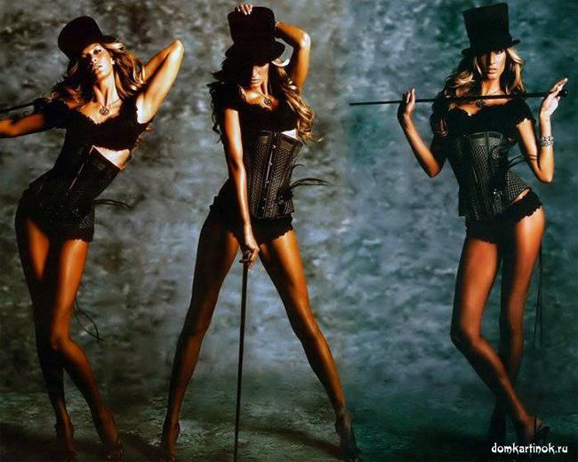 Девушки в чёрном с тростями и в шляпах